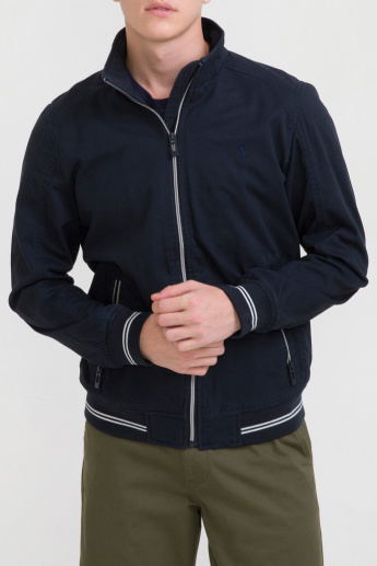 Bossini Stripe Detail Jacket with Long Sleeves and Zip Closure