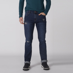 Bossini Distressed Jeans with Pocket Detail and Button Closure