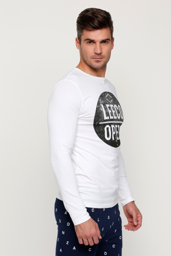 Lee Cooper Printed Round Neck T-Shirt with Long Sleeves