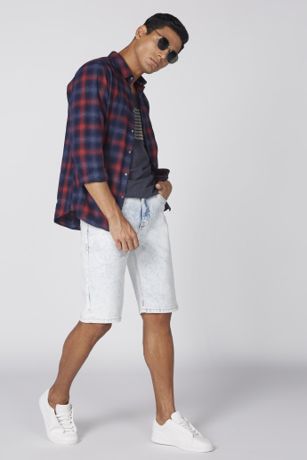 Lee Cooper Denim Shorts with Button Closure and Pocket Detail