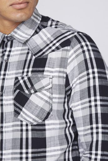 Lee Cooper Chequered Shirt with Long Sleeves and Dual Chest Pockets