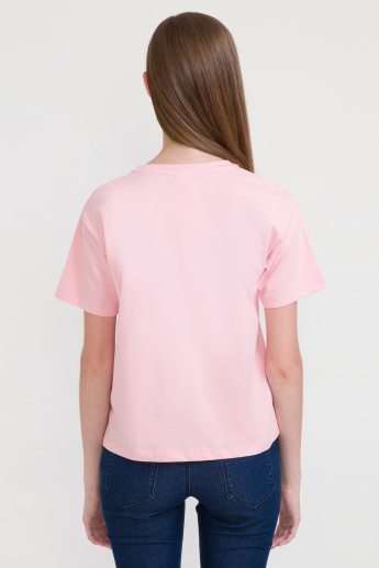 Bossini Embroidered T-Shirt with Round Neck and Short Sleeves