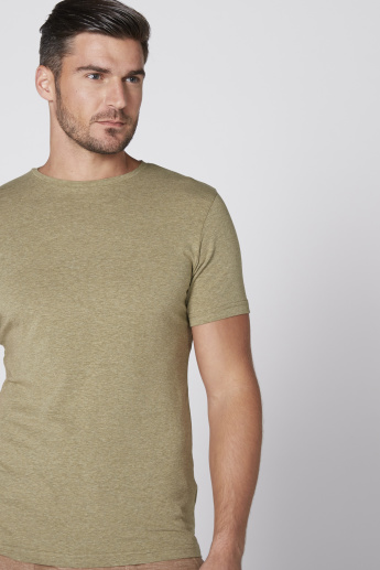 Lee Cooper Textured Round Neck T-Shirt with Short Sleeves