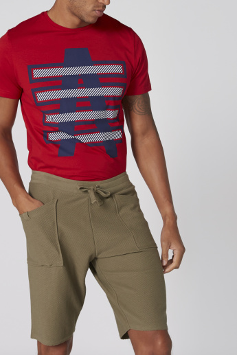 Lee Cooper Textured Shorts with Pocket Detail and Drawstring