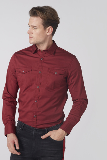 Long Sleeves Shirt with Complete Placket and Pocket Detail