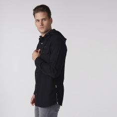 Pocket Detail Shirt with Detachable Hood and Complete Placket