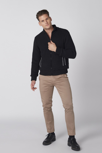 Textured High Neck Jacket with Pocket Detail and Zip Closure