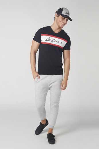 Lee Cooper Printed T-Shirt with V-Neck and Short Sleeves