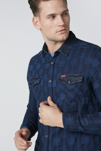 Chequered Shirt in Slim Fit with Pocket Detail and Complete Placket