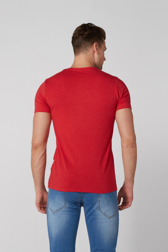 Panel Printed T-Shirt with V-Neck and Short Sleeves