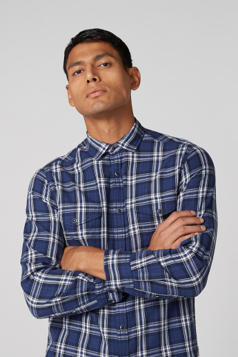 Lee Cooper Chequered Shirt with Pocket Detail and Long Sleeves