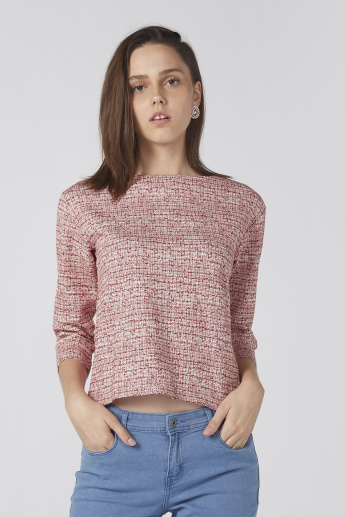 7f3bac291cd3 Bossini Textured Top with Boat Neck and 3 4 Sleeves