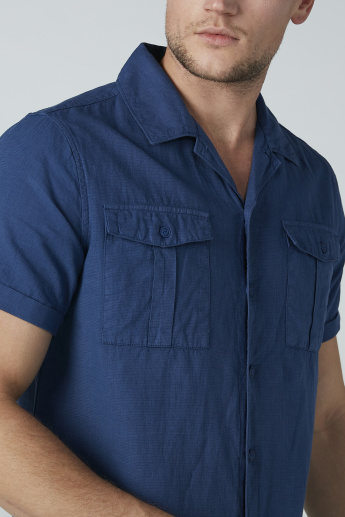 Sustainability Short Sleeved Solid Shirt with Pocket Detail
