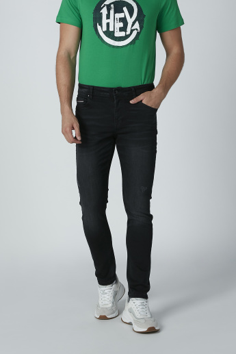 Lee Cooper Full Length Solid Distressed Jeans with Pocket Detail
