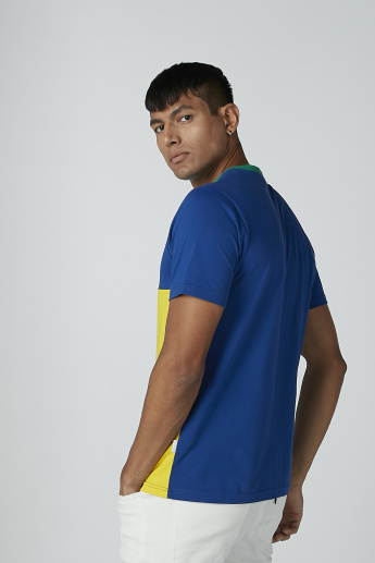 Colourblock T-shirt with Short Sleeves and Round Neck