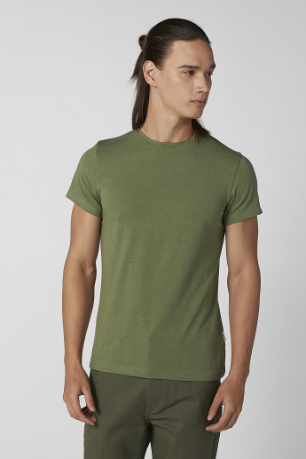 Lee Cooper Plain T-shirt with Round Neck and Short Sleeves