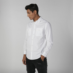 Lee Cooper Plain Shirt with Long Sleeves and Chest Pocket Detail