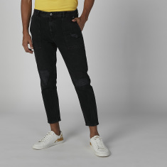 Sustainability Mid-Rise Distressed Jeans in Skinny-Fit
