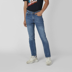 Sustainability Slim Fit Plain Jeans with Pocket Detail and Belt Loops