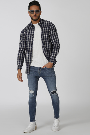 Sustainability Chequered Shirt with Spread Collar and Long Sleeves