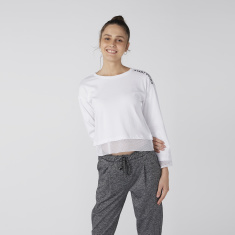 Bossini Printed Sweatshirt with Round Neck and Drop Shoulder Sleeves