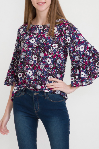 Bossini Floral Printed Top with Flared Sleeves