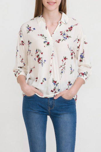 Bossini Floral Printed Collared Top with 3/4 Sleeves