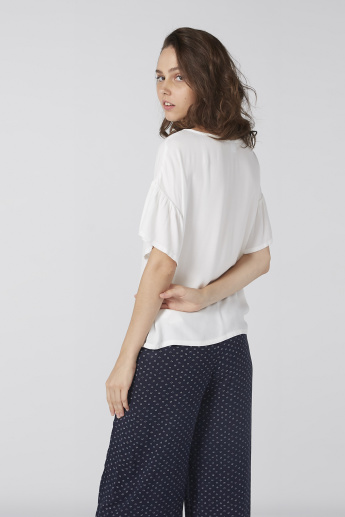 Bossini Printed Boat Neck Top with Short Flutter Sleeves