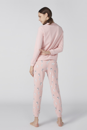 Bossini Printed Round Neck Sweatshirt with Jog Pants
