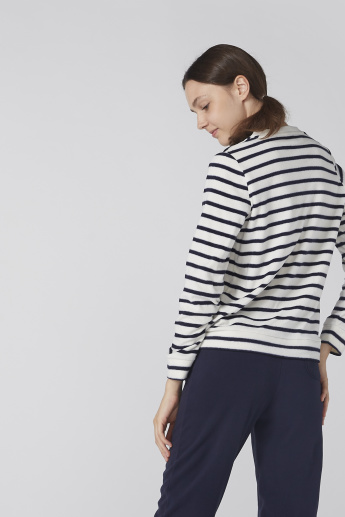 Striped Long Sleeves Sweatshirt with Jog Pants