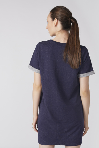 Bossini Textured Mini Dress with Short Sleeves and Pocket Detail