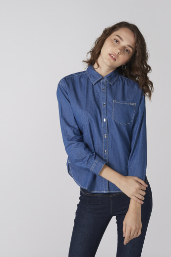 Bossini Long Sleeves Shirt with Complete Placket and Chest Pocket