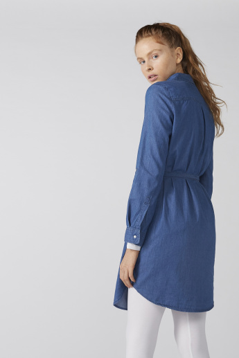 Bossini Embroidered Shirt Dress with Long Sleeves and Tie Ups