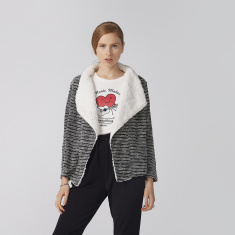 Bossini Textured Open Front Cardigan with Long Sleeves