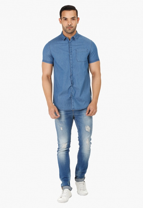 Short Sleeves Denim Shirt