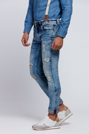 Eco Friendly Ripped Full Length Jeans with Button Closure