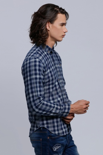 Chequered Long Sleeves Shirt with Spread Collar