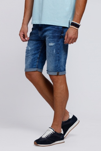 Ripped Shorts with Pocket Detail