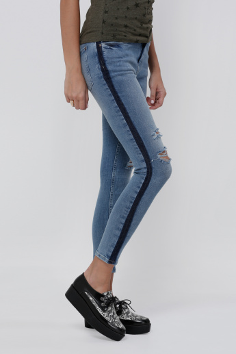Sustainability Ripped Ankle Length Jeans with Side Detail