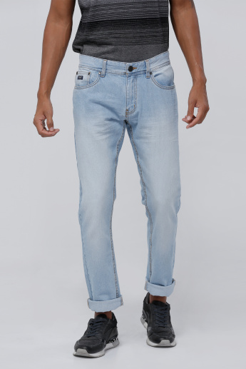 Full Length Denim Jeans with Button Closure