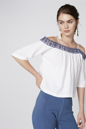 Lace Detail Off Shoulder Top with Spaghetti Straps