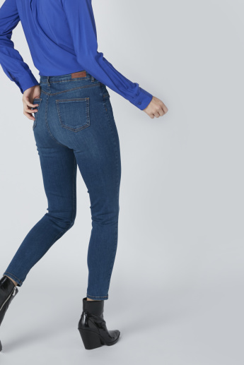 Pocket Detail High-Rise Jeans in Skinny Fit