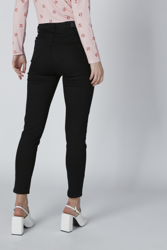 Ankle Length Denim Pants with Pocket Detail