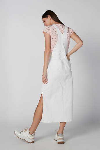 Plain Pinafore Dress with Pocket Detail and Side Slits