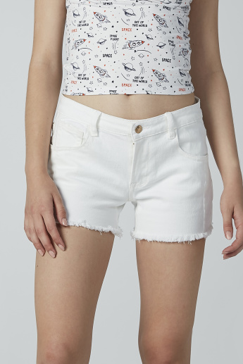 Plain Denim Shorts with Pocket Detail and Frayed Grazers