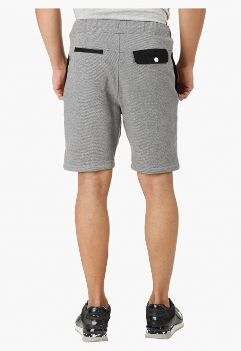 Textured Shorts with Contrast Pocket Lining