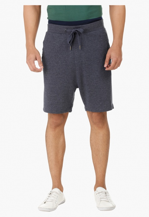 Melange Shorts with Drawstring