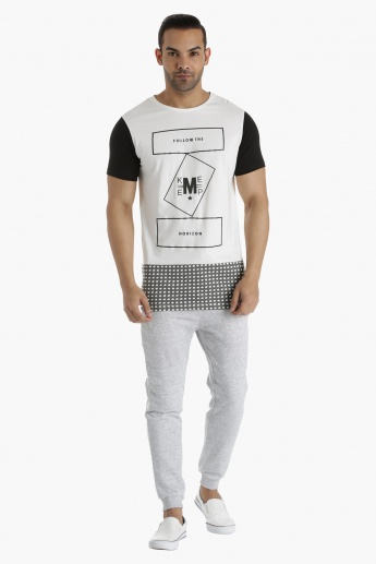 Printed Cotton T-Shirt with Crew Neck and Contrast Sleeves in Regular Fit