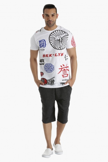 Cotton T-Shirt with All Over Print in Regular Fit