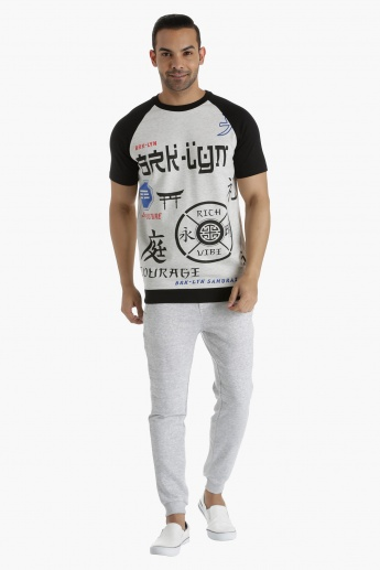 Printed T-Shirt with Contrast Raglan Sleeves in Regular Fit